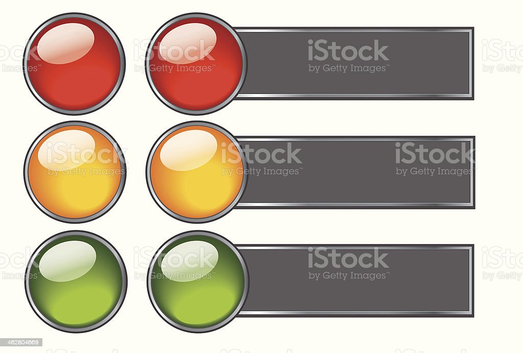 Buttons with colours of traffic light for web design vector art illustration