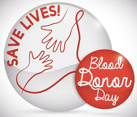 Knoppen Met Helpende Hand Redden Van Levens Voor Blood Donor Dag Stockvectorkunst en meer beelden van Ader