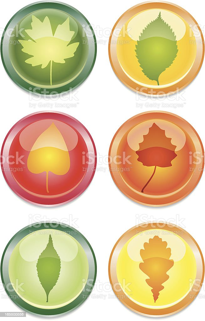 buttons with leaves royalty-free stock vector art
