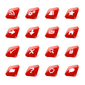 Set of 3d red square buttons with web icons