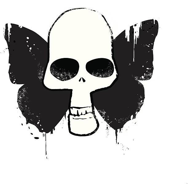 buttterfly skull - heather mcgrath stock illustrations
