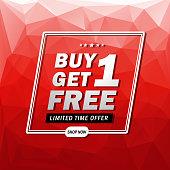 Vector illustration of Buy 1 Get 1 Free Banner. EPS Ai 10 file format.