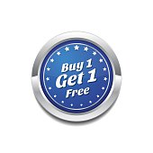 Buy 1 Get 1 Free  Glossy Shiny Circular Vector Button Icon Set