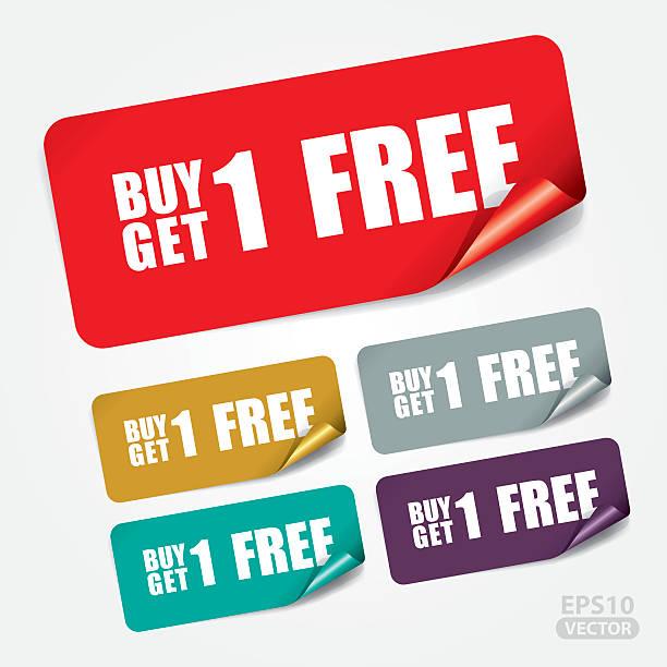 bildbanksillustrationer, clip art samt tecknat material och ikoner med buy 1 get 1 free on square sticker - nummer 1