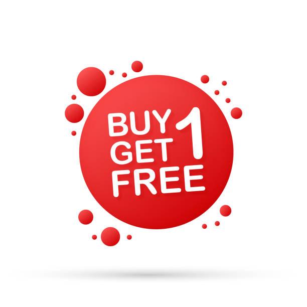 kaufen sie 1 get 1 gratis, verkauf tag, banner-design-vorlage. vector illustration. - einzelner gegenstand stock-grafiken, -clipart, -cartoons und -symbole