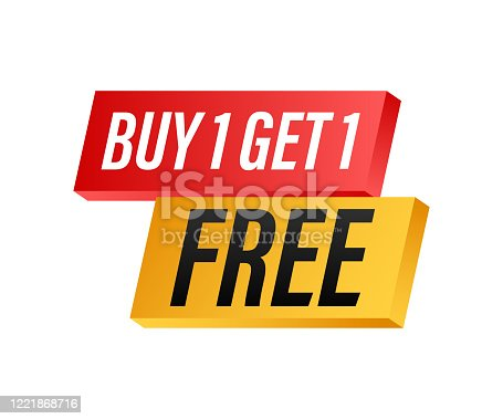 istock Buy 1 Get 1 Free, sale tag, banner design template. Vector stock illustration. 1221868716