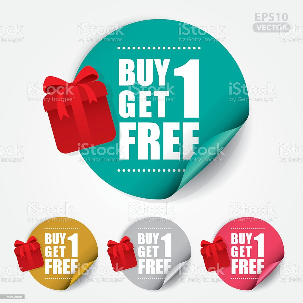 Buy 1 Get 1 Free Sticker and Tag vector art illustration