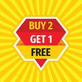 Buy 2 Get 1 Free - concept sale badge vector design. Advertising promotion banner.