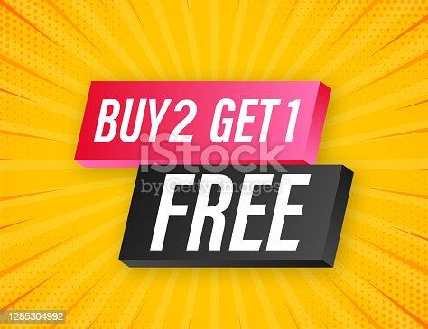 istock Buy 2 Get 1 Free, sale tag, banner design template. Vector stock illustration. 1285304992