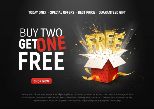 Buy 2 get 1 free vector illustration. Ad Special offer super sale red gift box on dark background. Buy 2 get 1 free vector illustration Ad Special offer super sale red gift box on dark background single object stock illustrations