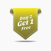 Buy 2 Get 1 Yellow Label Icon Vector Design