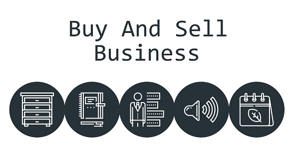 buy and sell business background concept with buy and sell business icons. Icons related calendar, speaker, bar chart, drawer, notebook