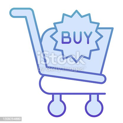 istock Buy button flat icon. Shopping trolley vector illustration isolated on white. Market cart button gradient style design, designed for web and app. Eps 10. 1209254880