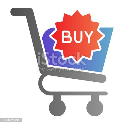 istock Buy button flat icon. Shopping trolley vector illustration isolated on white. Market cart button gradient style design, designed for web and app. Eps 10. 1209254881
