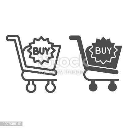 istock Buy button line and glyph icon. Shopping trolley, market cart with sign. Commerce vector design concept, outline style pictogram on white background, use for web and app. Eps 10. 1207086151