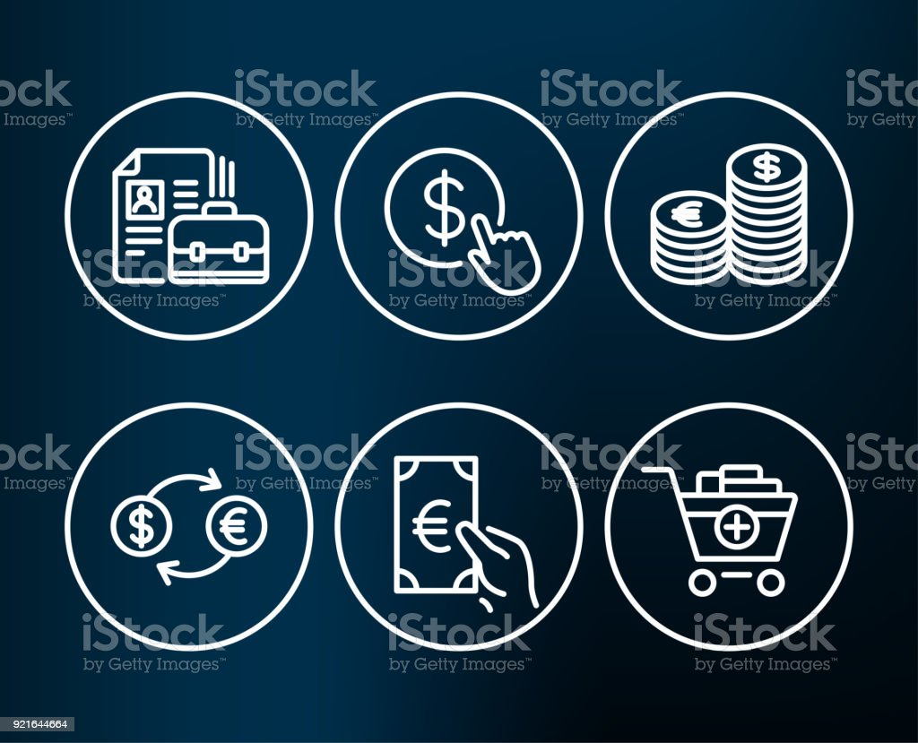Buy currency, Currency exchange and Finance icons. Vacancy, Add products signs. vector art illustration
