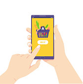 Buy food at online grocery store. Home delivery. Online shopping. Shop via smartphone. Make an order in the store via phone. Click button