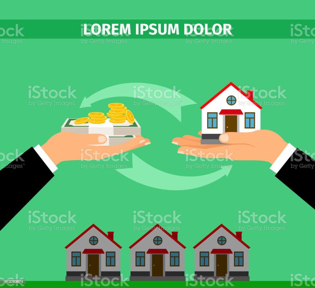 Buy House Convert Into Cash Banner Stock Illustration