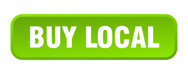 buy local button. buy local square 3d push button buy local button. buy local square 3d push button ethical consumerism stock illustrations