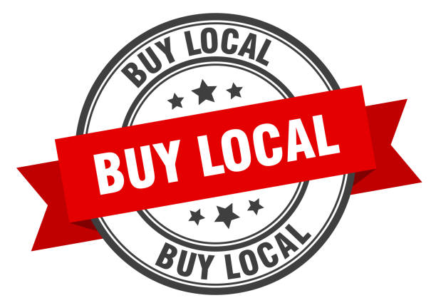 buy local label. buy local red band sign. buy local buy local label. buy local red band sign. buy local ethical consumerism stock illustrations