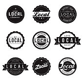 A set of 'buy local' and 'support local business' labels. Vector EPS file is CMYK color space for optimal printing.