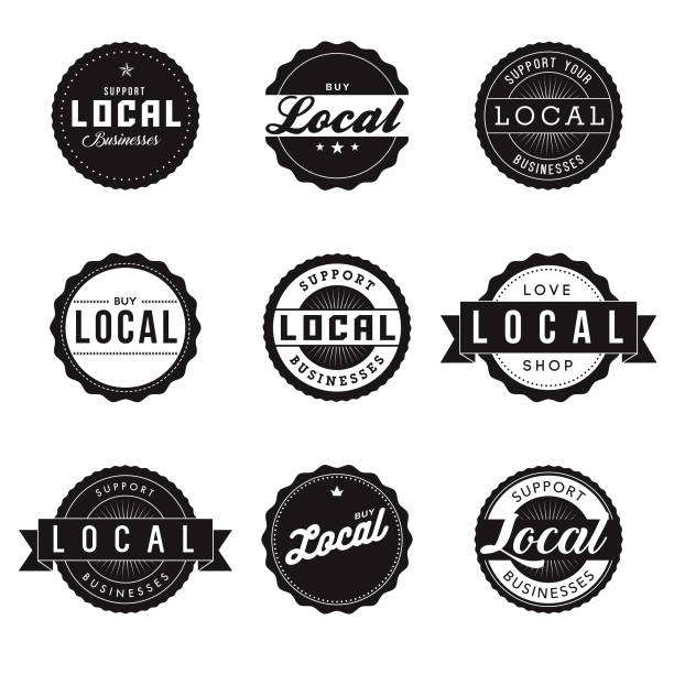 Buy Local Retro Labels Icon Set A set of 'buy local' and 'support local business' labels. Vector EPS file is CMYK color space for optimal printing. ethical consumerism stock illustrations