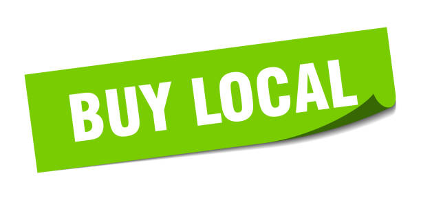 buy local sticker. buy local square isolated sign. buy local buy local sticker. buy local square isolated sign. buy local ethical consumerism stock illustrations