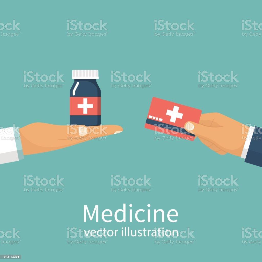 Buy medicine. Doctor vector art illustration
