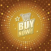 Vector of Buy Now headline in gold dotted color background. EPS Ai 10 file format.