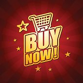 Vector of Buy Now headline in red color background. EPS Ai 10 file format.