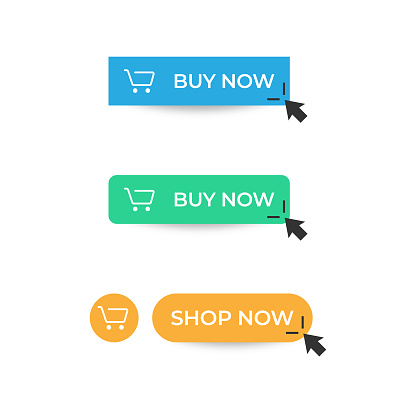 Buy Now Button Icon. Shop Now Button Click Mouse Cursor and Shopping Ticket Vector Design on White Background.