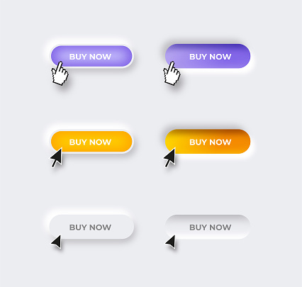 Neumorphic trendy design Buy Now button set and different mouse click cursors