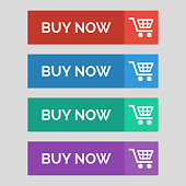 Buy now flat buttons on grey background. Vector illustration