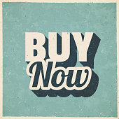 """Icon of """"Buy Now"""" in a trendy vintage style. Beautiful retro illustration with old textured paper and a black long shadow (colors used: blue, green, beige and black). Vector Illustration (EPS10, well layered and grouped). Easy to edit, manipulate, resize or colorize. Vector and Jpeg file of different sizes."""