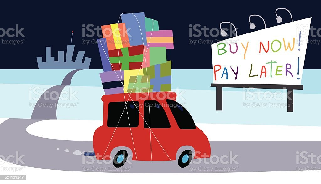 Buy Now! Pay Later! vector art illustration