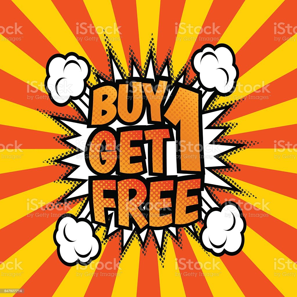 Buy one get 1 free poster vector art illustration