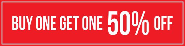 Buy One Get One 50% Off Sign Horizontal Landscape vector art illustration