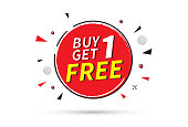 Buy one get one free banner. Sale banner template. Vector illustration