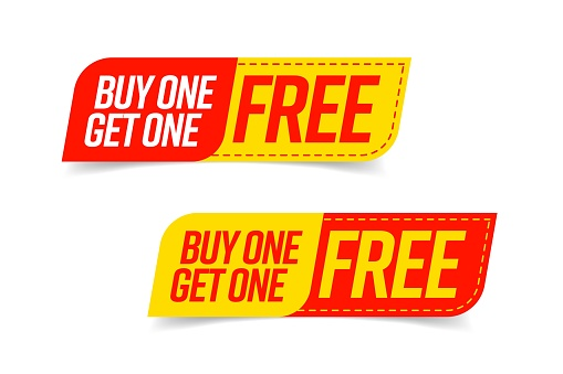 Buy one get one free bogo template voucher or coupon set