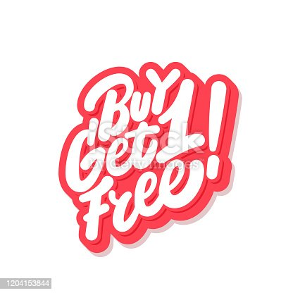 Buy one get one free. Vector hand drawn illustration.