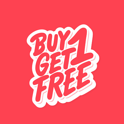 Buy one get one free. Vector lettering. clipart