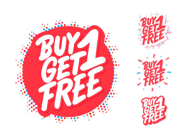 Buy one get one free. Vector lettering. Buy one get one free. Vector hand drawn illustration. single object stock illustrations