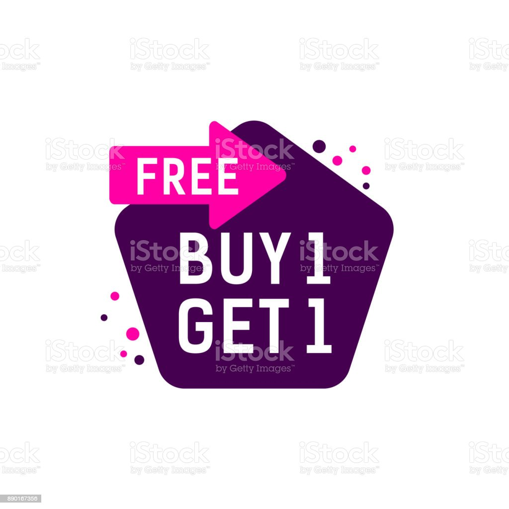 Buy One Get One Lettering vector art illustration