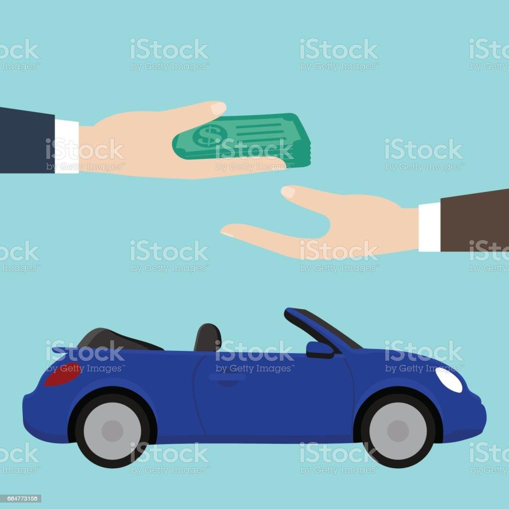 Buy / rent a car. Blue convertible. - arte vettoriale royalty-free di Accordo d'intesa
