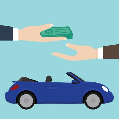 Buy Rent A Car Blue Convertible - Immagini vettoriali stock e altre immagini di Accordo d'intesa