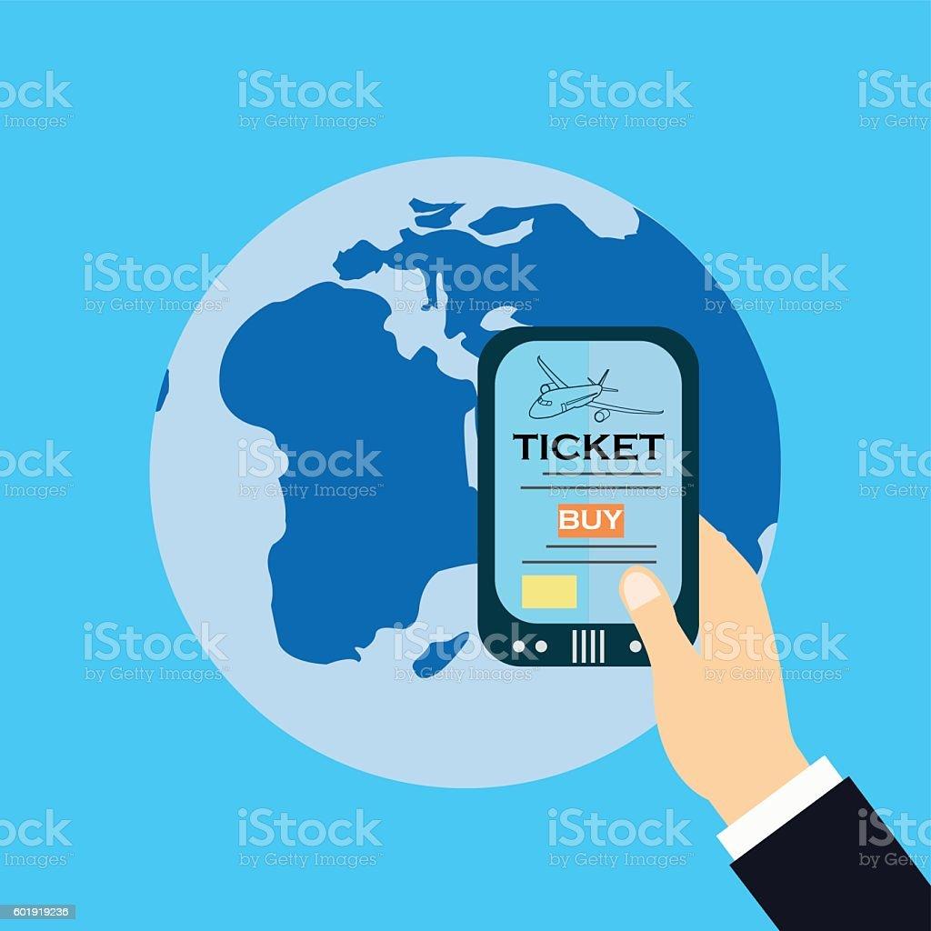 Buy ticket online smart phone application globe world map travel buy ticket online smart phone application globe world map travel illustracion libre de derechos libre de gumiabroncs Image collections