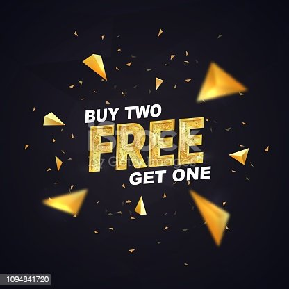 Buy two get one free on dark background vector illustration. Isolated design elements Best offer shopping template with golden triangles