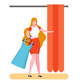 Buyer in Fitting Room Flat Vector Illustration