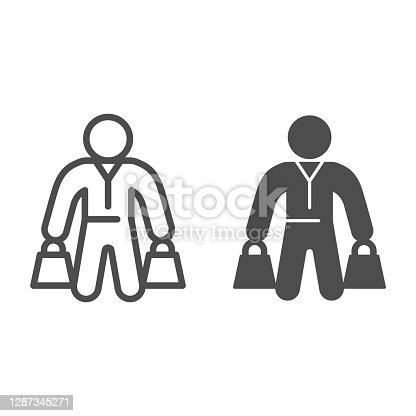 istock Buyer with packages line and solid icon, Black Friday concept, shopper sign on white background, Customer with shopping bags icon in outline style for mobile concept and web design. Vector graphics. 1287345271
