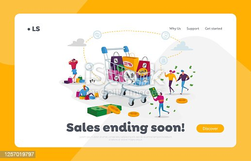 istock Buyers Characters Shopping Fun, Sale Landing Page Template. Tiny Shopaholic People around Huge Trolley with Purchases 1257019797
